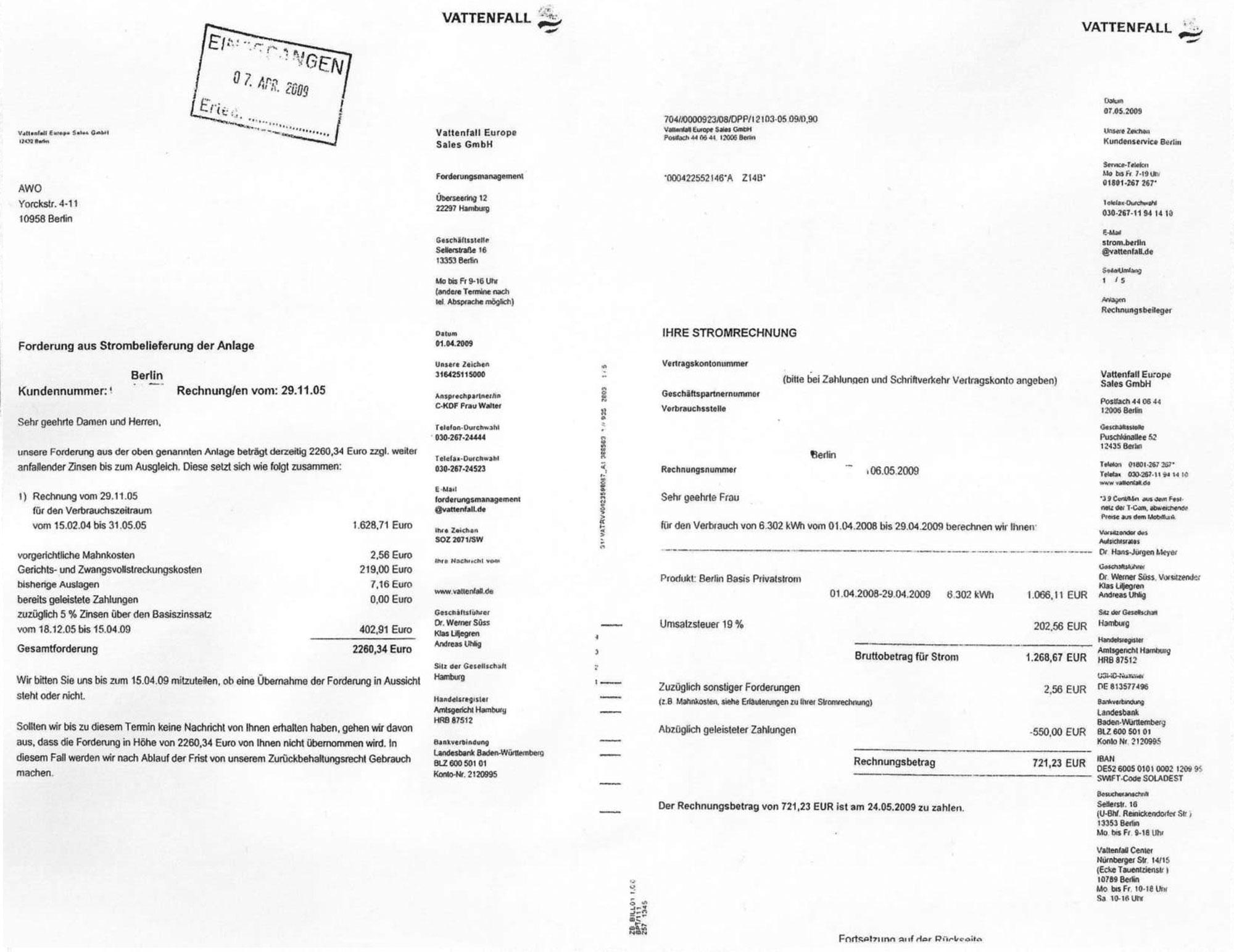 Modul 3.4: Stromrechnung Forderung